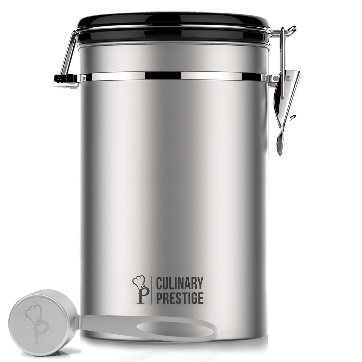 Culinary Prestige Stainless Steel Coffee Canister 22 oz - Built-in One Way Valve Blocks CO2 From Ruining Coffee Flavor - Built-in Freshness Calendar – Free eBook & Stainless Steel SCOOP