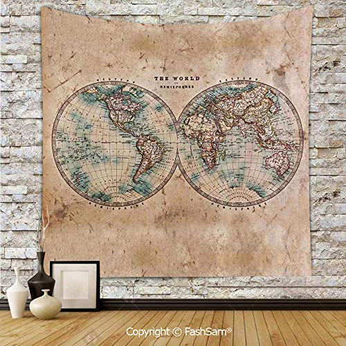 FashSam Polyester Tapestry Wall The World in Hemispheres Vintage Old Map Design Geography History Theme Hanging Printed Home Decor(W39xL59) ()