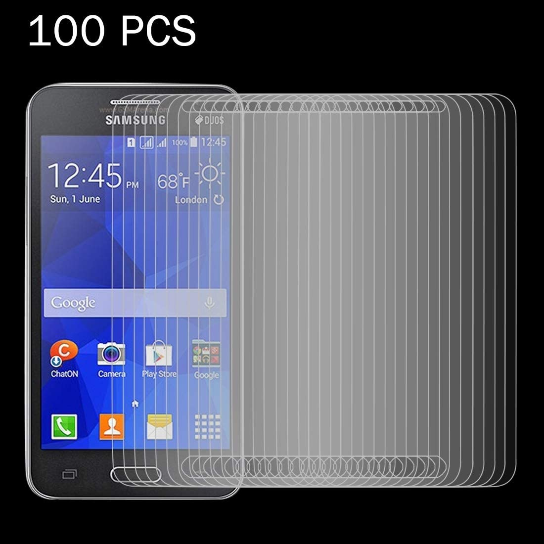 HUFAN 100 PCS 0.26mm 9H Surface Hardness 2.5D Explosion-Proof Tempered Glass Screen Film for Galaxy Core 2 G355H Phone Glass Film