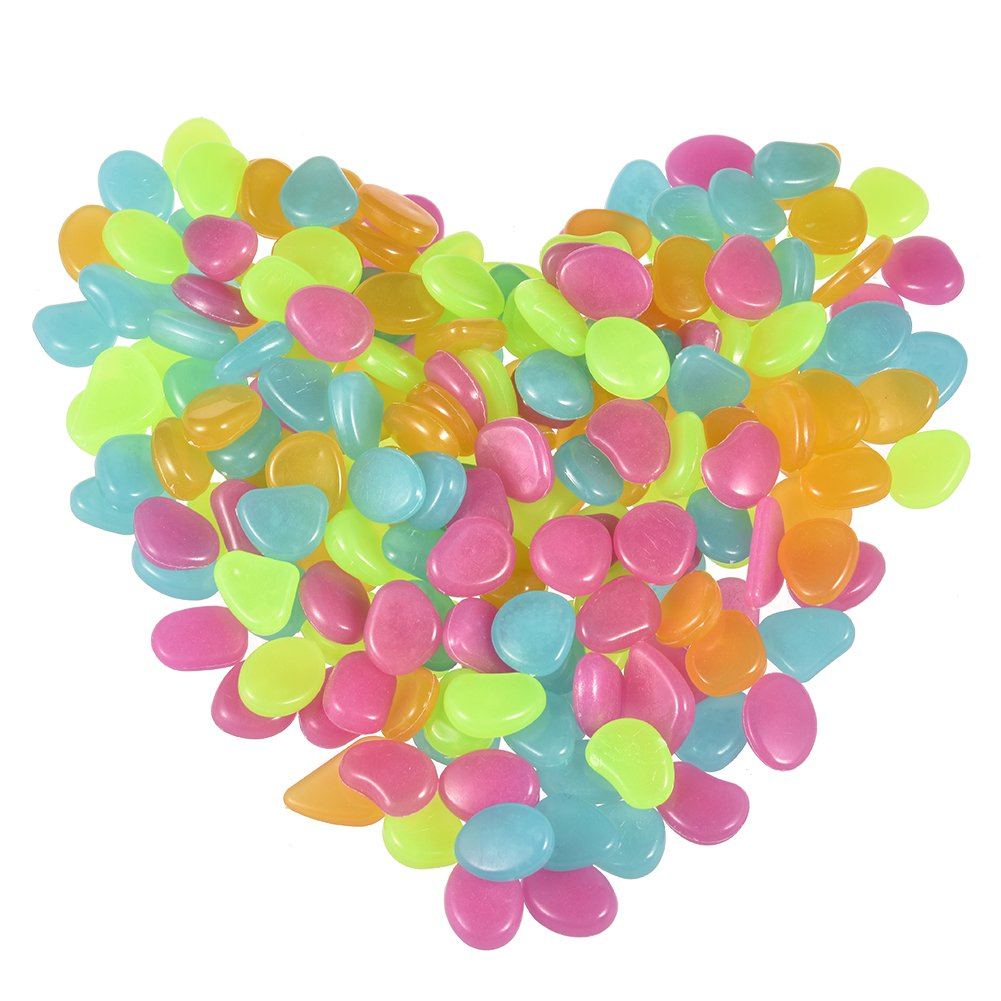 100PCS Luminous Pebbles Glow Stones Garden Decorative Luminous Glow in the Dark Stones Noctilucent Cobblestones for Driveway Walkway Park Fish Tank Flowerpot Decoration - Light Green Yunhigh Yunhigh-123