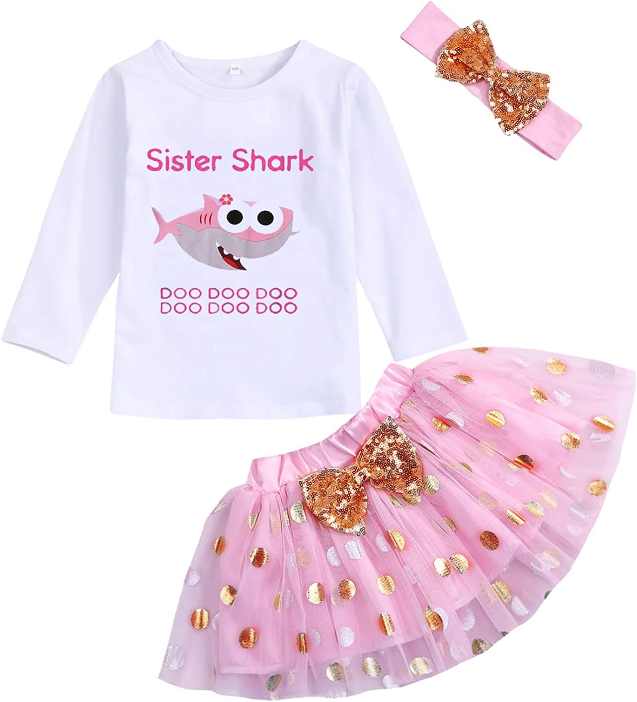 Toddler Baby Kid Girls Sister Shark Outfits Long Sleeve T-Shirt Top+Tutu Skirt with Headband Clothing Set