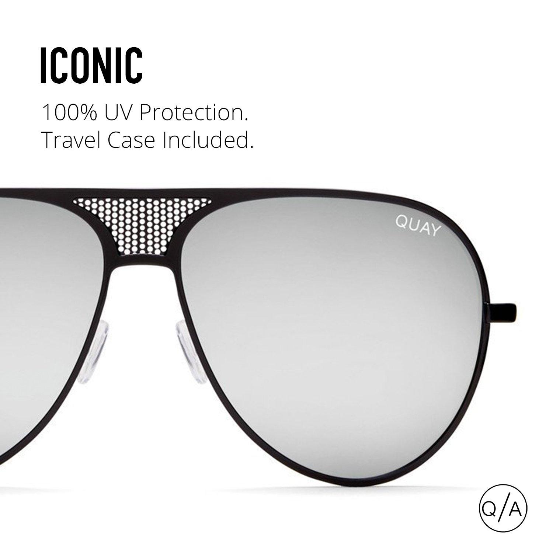 7afb4e552 Amazon.com: Quay Australia ICONIC Women's Sunglasses Kylie Oversized Aviator  - Black/Silver: Quay: Clothing