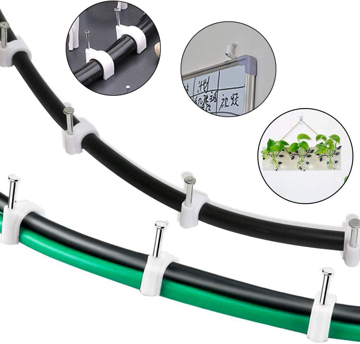 Fodlon Clips de Cable Redondo 400 Piezas Abrazadera para Cable Grapas para Cables con Clavos de Acero Incorporados Clips de pared de Cable Eléctrico ...