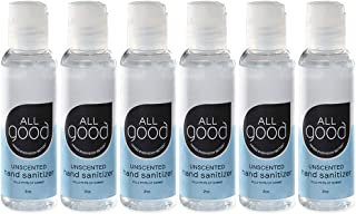 product image for All Good Hand Sanitizer, 2 Ounce Bottles, Unscented Travel Sanitizer, Pack of 6