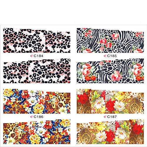 Leopard Finger Nails (KADS Fashion Leopard Dreaming Nail Decals Water Transfer Fingernail Decals Nail Stickers - 1 Pack 4 design)