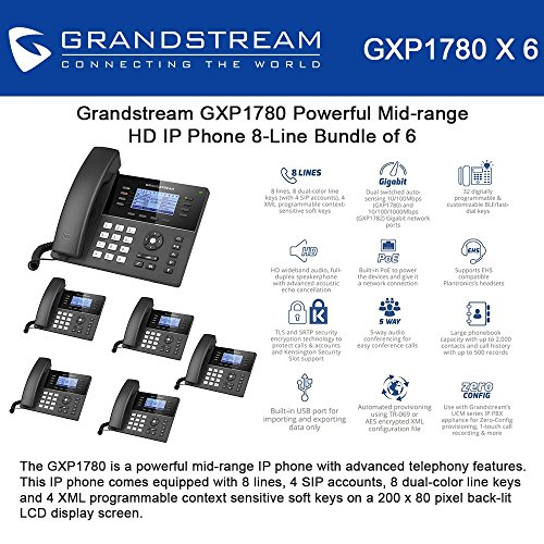 Grandstream GXP1780 Bundle of 6 Powerful Mid-range HD IP Phone 8-Line, 4SIP accounts