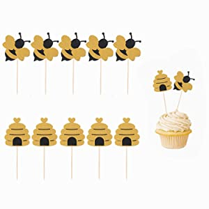 Hasken 50 Pack Bee Cupcake Toppers Glitter Bumble Bee Cupcake Toppers for Bumble Bee Gender Reveal Baby Shower Birthday Party Decor