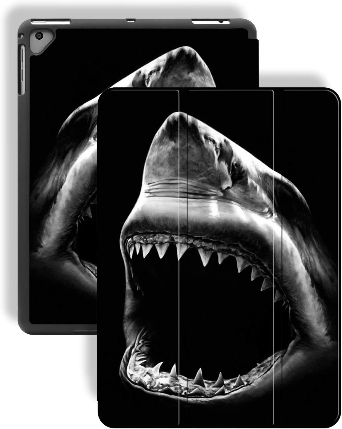 iPad 9.7 2018/2017/iPad Air 2 Case,Big Black and White Shark Pattern PU Leather Slim Soft TPU Back with Pencil Holder Cover for iPad 9.7 Inch 5th/6th Generation(Auto Wake/Sleep)