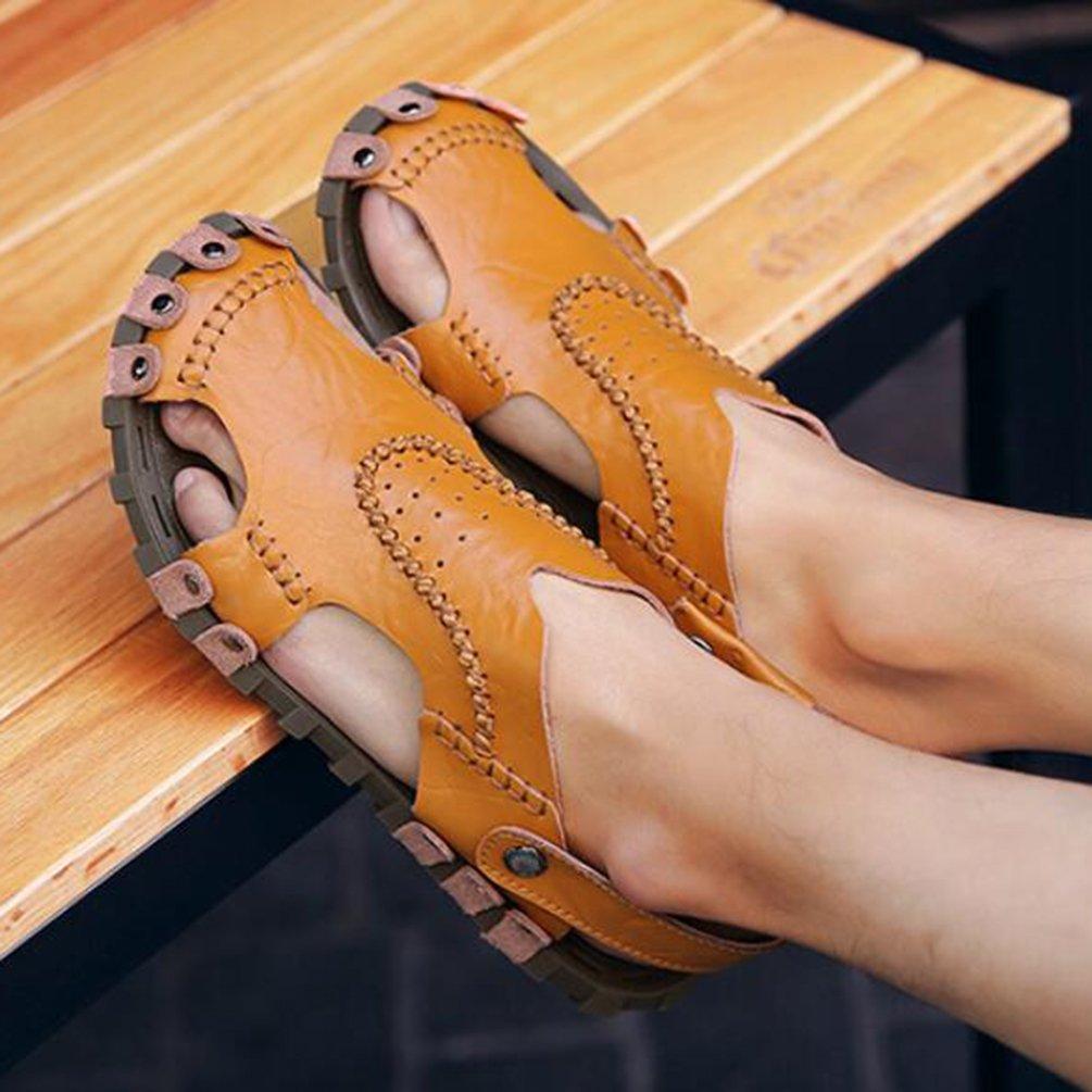 GSHE Schuhes Herren LederSandale Sommer Sommer Sommer Outdoor Beach Slipper Clog Erwachsene Casual Sandalen Braun 310591