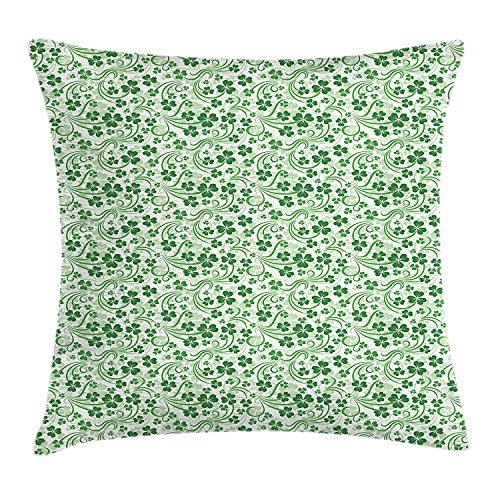YXZILH Shamrock Throw Pillow Cushion Cover, Lucky Celtic Clovers Swirls Monochrome Irish Design St Patrick's Day, Decorative Square Accent Pillow Case, 18 X 18 inches, Pale Green and Emerald