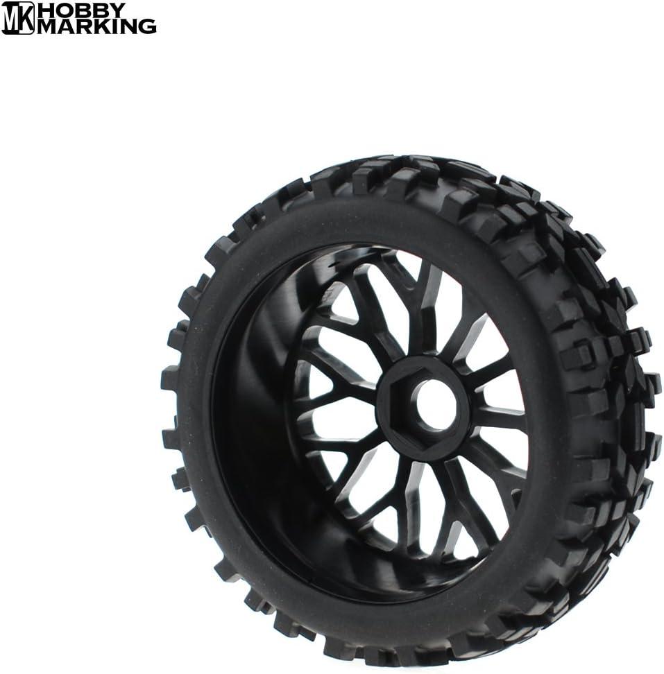 Black Hobbymarking 4Pcs RC 1//8 Scale Baja Car Tires Tyre Wheel Rim 17mm Hex RC Buggy Off-Road Redcat HSP HPI