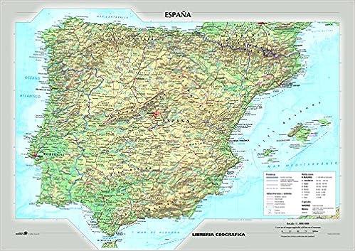 La Spagna Cartina Fisica.Amazon It Spagna Fisica E Politica Carta Murale Libri