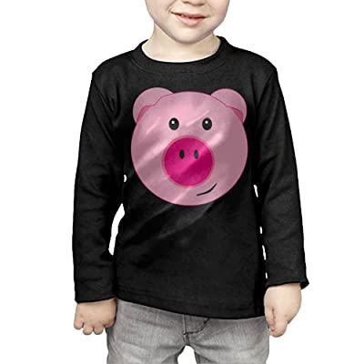 ZheuO Boys & Girls Toddler Cute Pink Pig Soft and Cozy 100% Cotton Tee Unisex Black