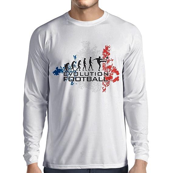 lepni.me Camiseta de Manga Larga para Hombre Fútbol de Evolución - Francia, Campeonato de Rusia 2018, Copa del Mundo - Camisa del admirador de Equipo del ...