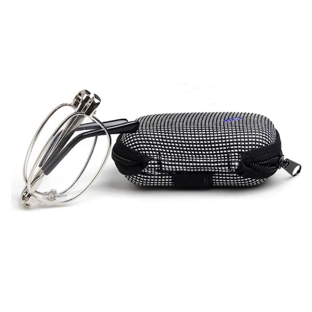 1.0 to Folding Silver Metal Alloy Reading Glasses Case /& Cloth with 7 Magnifications 4.0x
