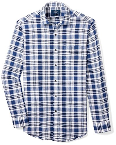 Buttoned Down Men's Classic Fit Spread-Collar Linen Sport Shirt, Dark Blue/White Plaid, 19-19.5