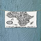 Nalahome Exercise Towel Illustration of a Vintage Africa Map with Hand Written Letters Print Coconut and Machine Washable L39.4 x W9.8 inch