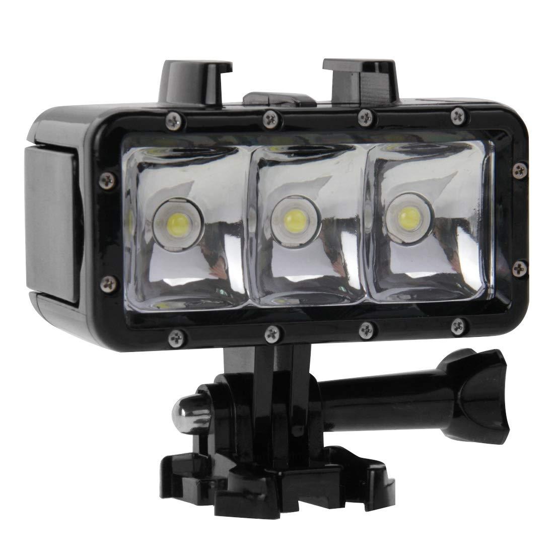 30m防水ビデオライト GoPro用 3モード懐中電灯 ベースマウント&ねじ付き Hero /HERO6 /5/5 セッション /4 セッション /4/3+ /3/2 /1 Xiaoyiおよびその他のアクションカメラ用   B07PNC8NKN