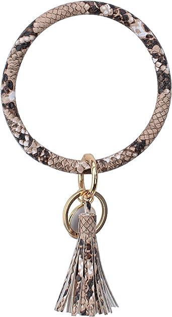 Wrist Key Bangle Keychain Print Ring Big O Personalize Strap Pu leather Loop