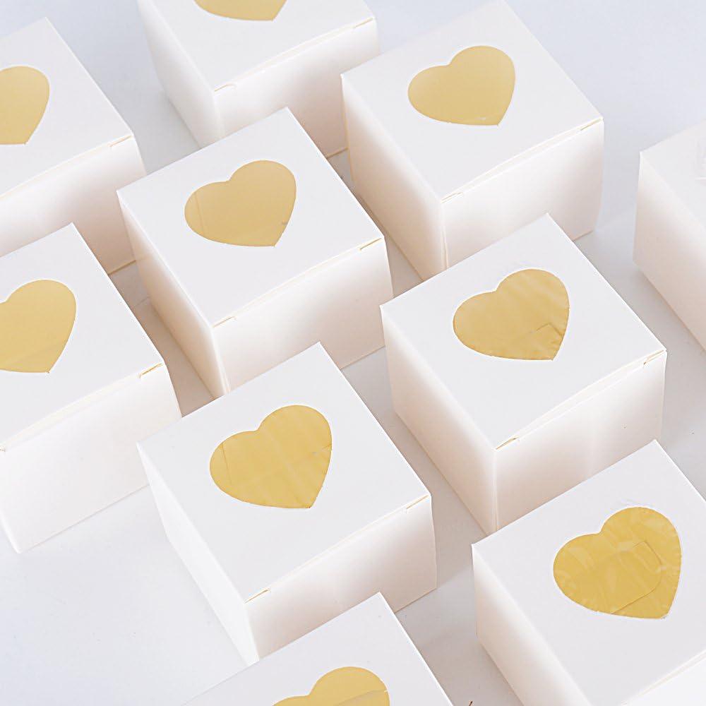 AONER 100pcs(5 * 5 * 5cm) Cajas Papel Regalos Caramelos Dulces Bombones Recuerdos Invitados Boda Fiesta Bautizo Comunion Graduación 5 * 5 * 5cm (Blanco con corazón)