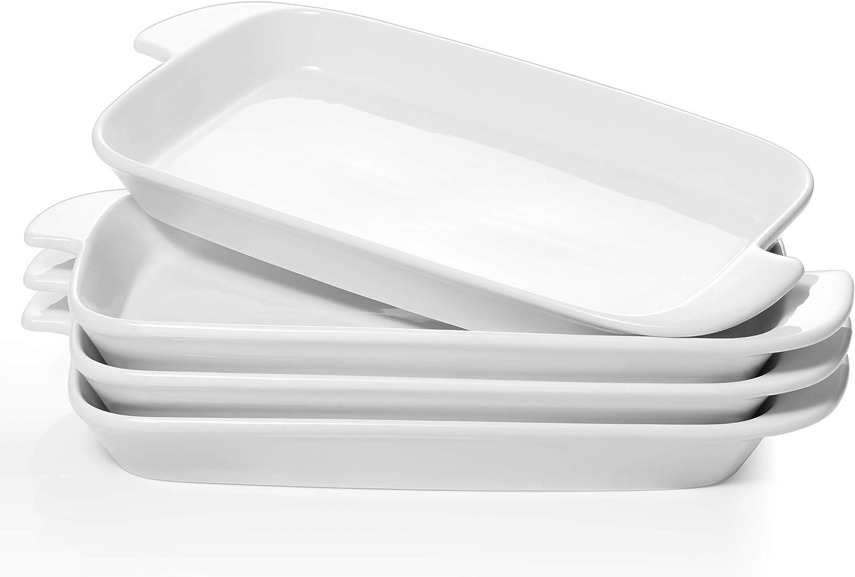 DOWAN Serving Platter, 10 inches Porcelain Platter with Handle, White Dinner Plates Rectangular Set of 4, Ceramic Stackable Dish Set Microwave Safe Serving for Dessert, Salad, Appetizer, Pasta, Steak
