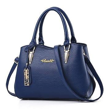 b480085edd3ff BestoU Damen Handtasche Schwarz groß Leder Damen Schultertasche Frauen  Umhängetasche (Blau)