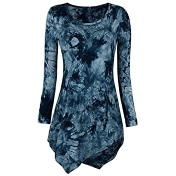 Camisetas Largas Desigual para Mujer, LILICAT® 2018 Tops Blusa de Tie Dyed Hankerchief Hemline