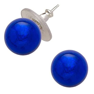 Amanti Venezia Cobalt Blue Murano Glass Stud Earrings RzDAvIdWuv