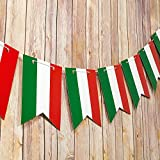 Quasimoon Italian Flag Italy Country Pattern Guidon Pennant Banner Garland (11FT) by PaperLanternStore