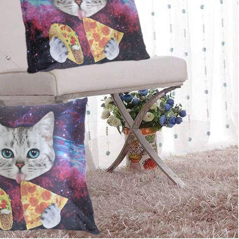 2 Pack Of Galaxy Cat Pizza Taco Throw Pillow Covers Decorative Square Pillowcase Soft Solid Cushion