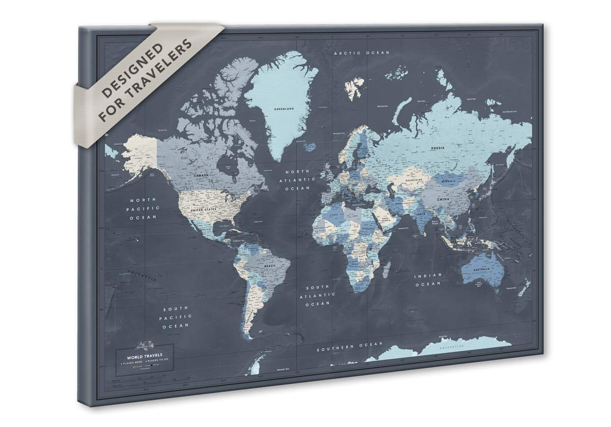 World Map Push Pin Amazon.com: World Map on Canvas with Pins | Personalized World Map