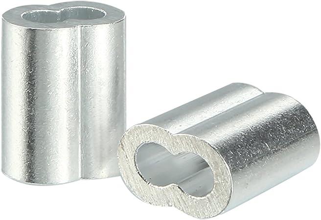 3mm 1//8 pouces en aluminium /à C/âble C/âble Clip Boucle Manchons /à sertir 100pcs