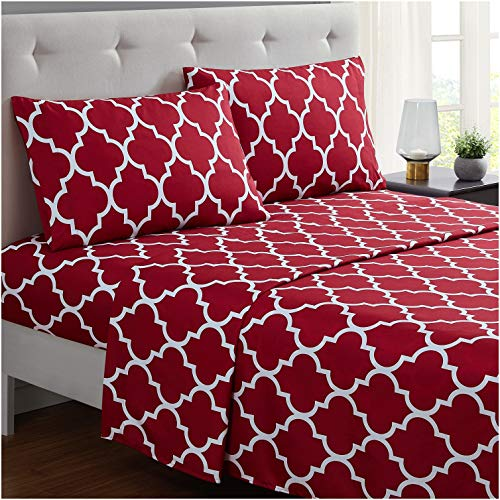 Mellanni Bed Sheet Set Queen Brushed Microfiber Printed Bedding Deep Pocket Wrinkle Fade Stain Resistant 4 Piece Queen Quatrefoil Burgundy Red