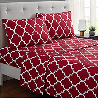 Mellanni Bed Sheet Set TwinXL - Brushed Microfiber Printed Bedding - Deep Pocket, Wrinkle, Fade, Stain Resistant - 3 Piece (Twin XL, Quatrefoil Burgundy - Red) (B01E7UJBY4) | Amazon price tracker / tracking, Amazon price history charts, Amazon price watches, Amazon price drop alerts