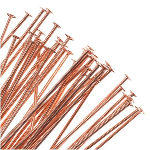 - Beadaholique Genuine Copper Head Pins - 24 Gauge Thick 2 Inches Long (24)