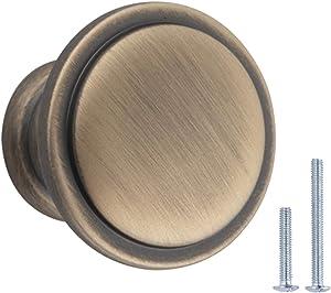 AmazonBasics Button Mushroom Cabinet Knob - Antique Brass, 25-Pack