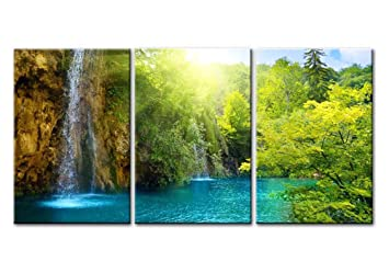 canvas print wall art painting for home decor waterfall in dawn with sunrise blue lake green - Home Decor Paintings