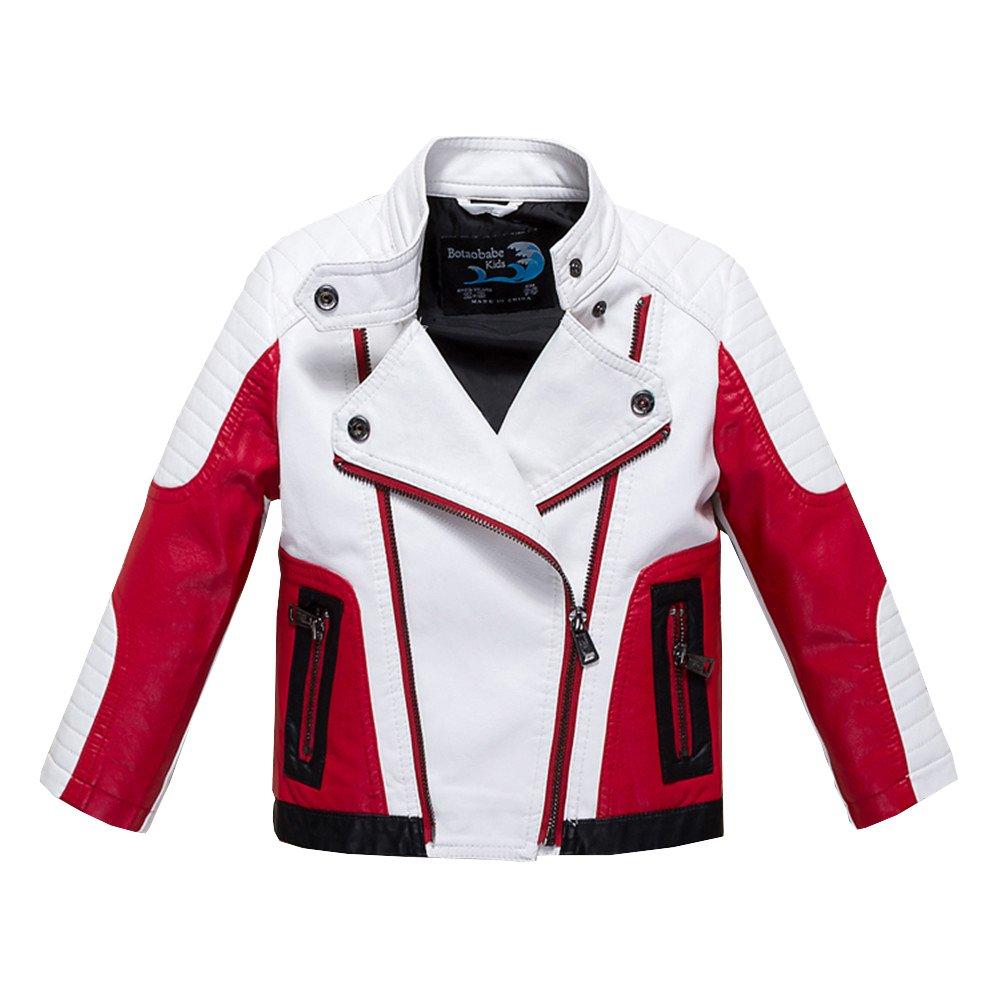 Budermmy Boys Leather Motorcycle Pilot Jackets Toddler Coats White Size 8 by Budermmy