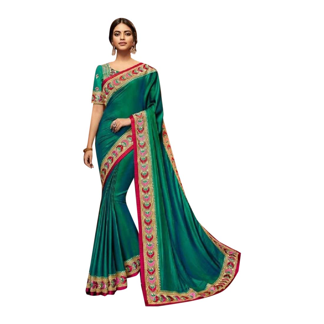 Indian Party wear Silk Saree with Embroidered Blouse Designer Sari for Women Evening dress 7572