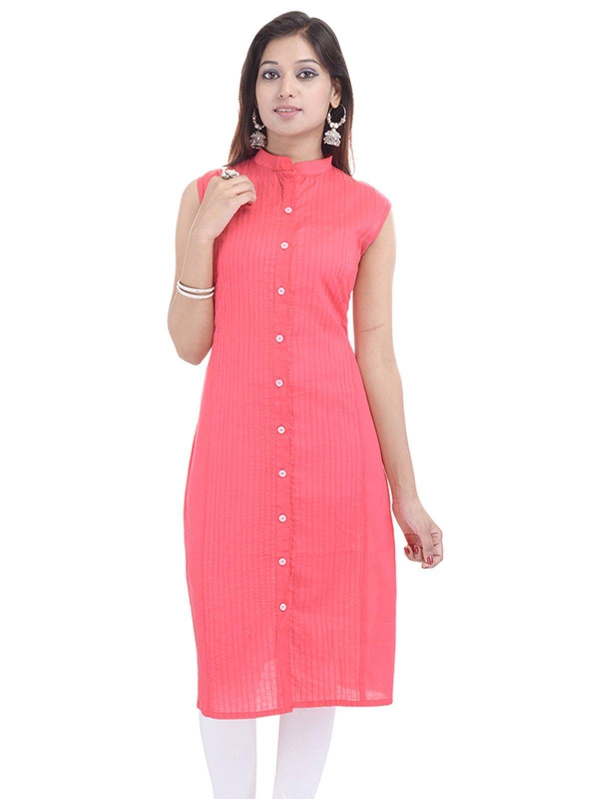 Chichi Indian Women Kurta Kurti Sleeve Less Medium Size Plain Straight Aboli Top