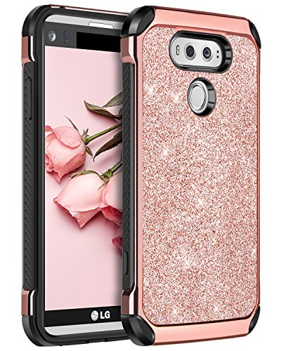 BENTOBEN Case for LG V20, Glitter Bling Luxury Slim Fit 2 in 1 Hybrid Hard Cover Laminated with Sparkly Shiny Faux Leather Chrome Shockproof Protective Phone Case for LG V20(2016 Release), Rose Gold (Verizon Lg G2 Bling Case)