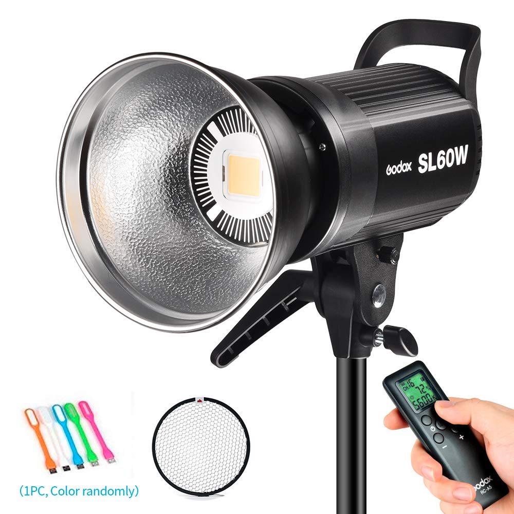 Godox SL-60W 60W CRI95+ White Version LED Video Light,5600±300K Continuous Output Lighting Bowens Mount &Wireless Remote for Video Recording,Children Photography,Wedding,Outdoor Shooting (110V)