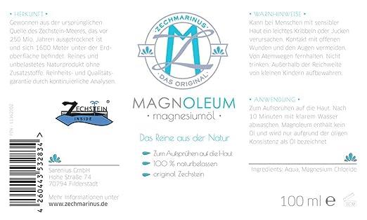 magnesiumöl ZECH piedra magnoleum 1000 ml Dispensador de botella de cristal para la práctica - dermatológicamente probada clínicamente - Natural Magnesio ...