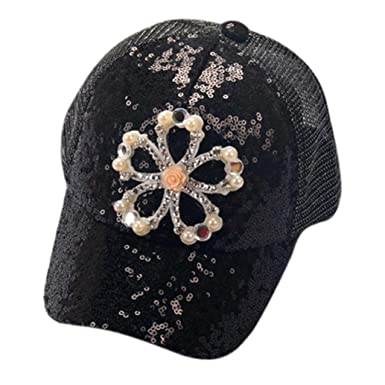 71109ba93723f Sunward 2017 New Kids Boys Girls Cute Sequins Floral Adjustable Baseball  Hats Sun Visors (Black
