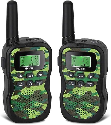 Little Walkie Talkies for Kids 22 Channels 2 Way Radio Toy with Backlit LCD Flashlight 3 Miles Range for Kids Outdoor Adventures Camping Hiking Foluu Kids Walkie Talkies Camo Green