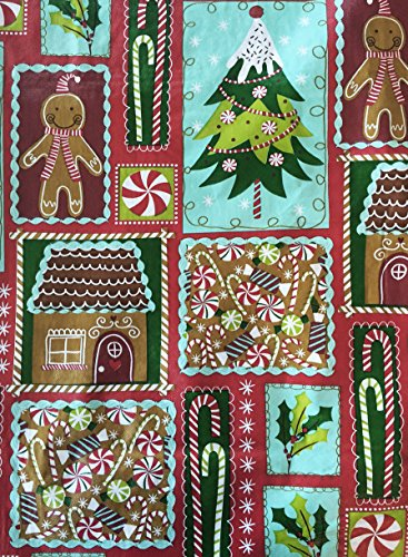 Christmas Holiday Sweets Flannel Backed Vinyl Tablecloth - 52