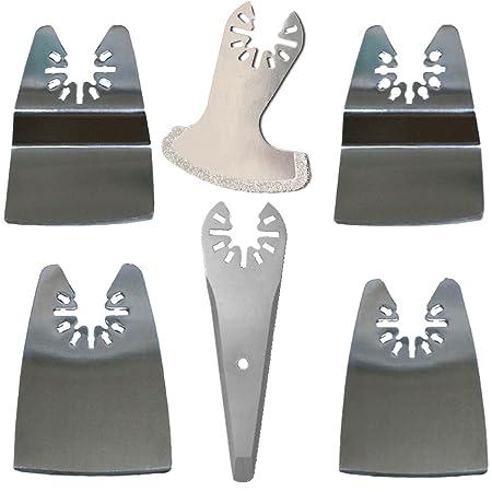 ZFE 6 Pcs Scraper Blade Mix Oscillating MultiTool Blade for Rockwell Fein  Bosch Ryobi Dremel Makita Multimaster Multifunction Tools