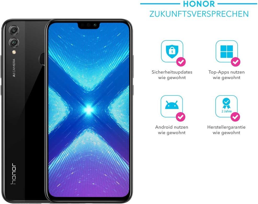 Honor 51092 X XP 8 x Smartphone (16,5 cm (6,5 pulgadas) FHD + Display, cámara dual, Dual SIM, Huella Dactilar, Android 8.1) con Gratis PU Flip Protective Cover Azul: Amazon.es: Electrónica