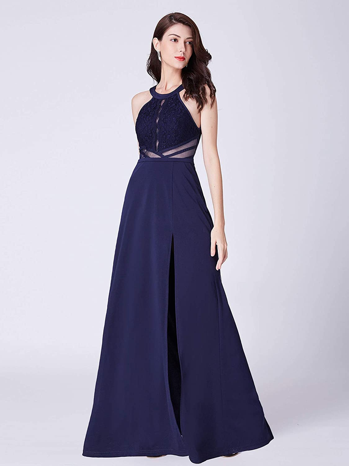 c765d49145f4 Ever-Pretty Navy Blue Long Lace Prom Dress with Side Slit 07390 at Amazon  Women's Clothing store: