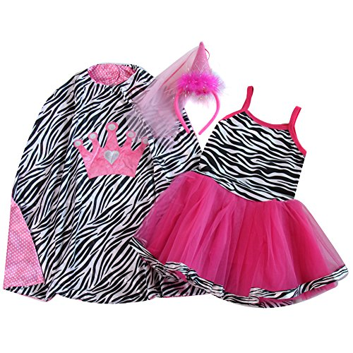 Girls Zebra Happy Birthday Cape & Tutu Dress Gift Set Size 4/6 (Purple Zebra Dress)